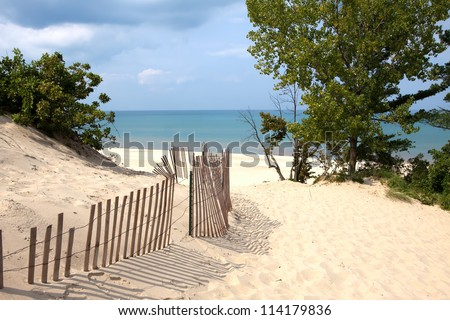 Indiana sand dunes on Lake Michigan's shoreline. - stock photo