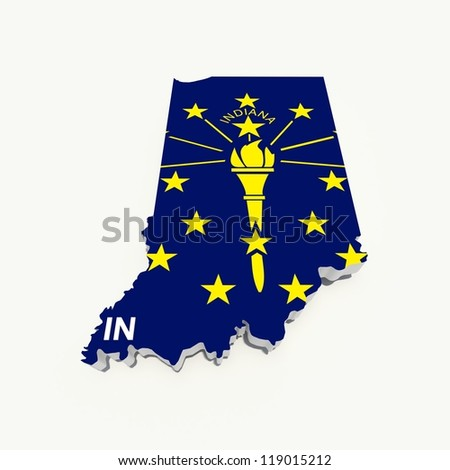 indiana state flag od 3d map - stock photo