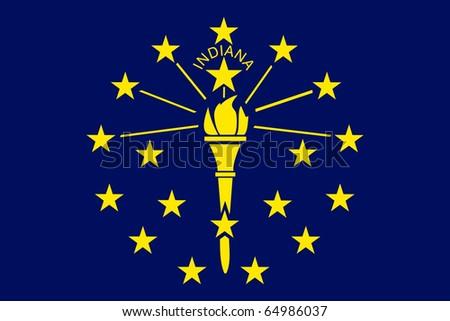 Indiana state flag of America, isolated on white background. - stock photo