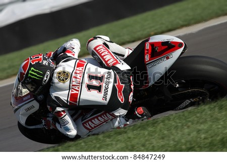 INDIANAPOLIS - AUGUST 28: US Yamaha rider Ben Spies at 2011 Red Bull MotoGP of Indianapolis on August 28, 2011 - stock photo