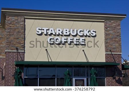 Indianapolis - Circa February 2016: Starbucks Retail Coffee Store. Starbucks is an American Retail Coffee Chain IV - stock photo