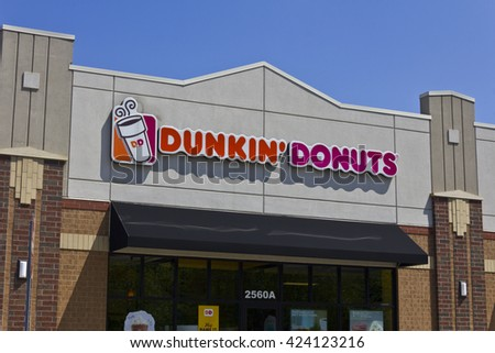 Indianapolis - Circa May 2016: Dunkin' Donuts Retail Location. Dunkin' is America's favorite every day, all-day stop for coffee and baked goods III