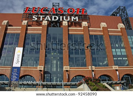 INDIANAPOLIS - DEC 1: Lucas Oil Stadium home of the Indianapolis Colts will be host stadium for Super Bowl XLVI December 1, 2011 in Indianapolis, IN - stock photo