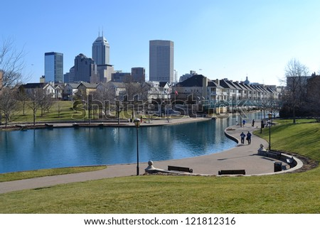 INDIANAPOLIS - FEBRUARY 5: Indianapolis, the capital city of Indiana, is the 12th largest city in the United States. The Indianapolis skyline pictured on February 5, 2012 in Indianapolis, Indiana. - stock photo