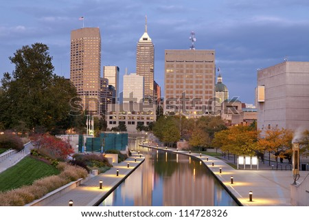 Indianapolis. Image of downtown Indianapolis, Indiana in autumn. - stock photo