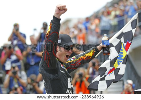 Indianapolis, IN - Jul 27, 2014:  Jeff Gordon (24) wins the CROWN ROYAL PRESENTS, THE JOHN WAYNE WALDING 400 AT THE BRICKYARD at Indianapolis Motor Speedway in Indianapolis, IN.  - stock photo