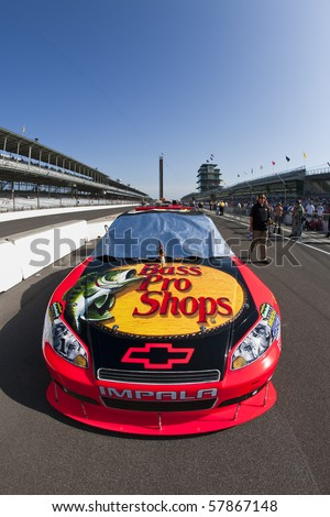 INDIANAPOLIS, IN - JULY 24:  The Bass Pro Shops Chevrolet sits on pit road before qualifying for the Brickyard 400 race at the Indianapolis Motor Speedway on July 24, 2010 in Indianapolis, IN. - stock photo