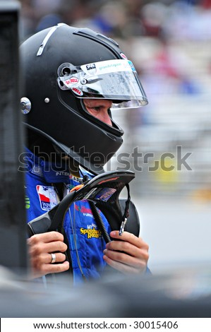 INDIANAPOLIS, IN - MAY 9: Indy car Driver Stanton Barrett is ready for the qualifying run of the Indy 500 May 9, 2009 in Indianapolis, IN - stock photo