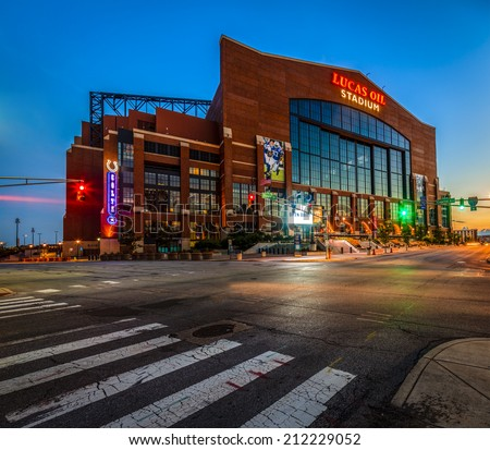 INDIANAPOLIS, INDIANA, JUNE 25, 2014: Lucas Oil Stadium. The stadium was opened in 2008 replacing RCA Dome and hosted Superbowl in 2012 - stock photo