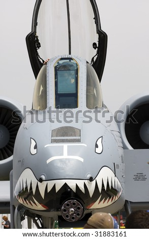 INDIANAPOLIS - JUNE 7: AN A-10 Warthog sits on the runway at the Indy air show at Mt. Comfort airport on June 7th, 2009 in Indianapolis,Indiana
