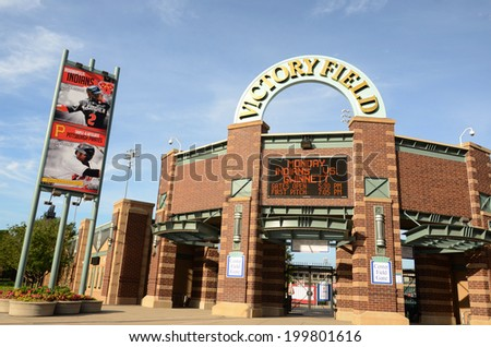 INDIANAPOLIS - JUNE 15: Victory Field, home of the Indianapolis Indians baseball team, is shown June 15, 2014. The indians lost their game to Gwinnett 2-1. - stock photo
