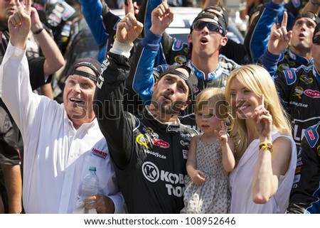 INDIANPOLIS, IN - JUL 29, 2012:  For the fourth time in his career, Jimmie Johnson (48) wins tthe Curtiss Shaver 400 at the Indianapolis Motor Speedway in Indianapolis, IN on 29 Jul, 2012. - stock photo