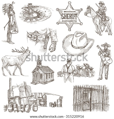 INDIANS and WILD WEST - Collection of an hand drawn illustrations. Description: Full sized hand drawn illustrations, original freehand sketches. Drawing on white background. - stock photo