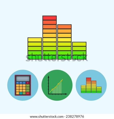 Indicator .  Set from 3 round colorful icons, calculator, indicator icon, diagram icon, info graphics, chart icon, schedule icon - stock photo