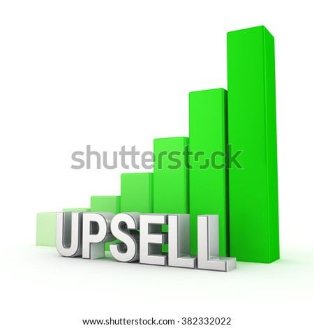 Indicators upsell grow. Word Upsell against the green rising graph. 3D illustration graphics