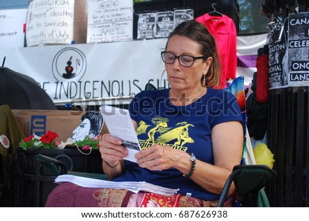 Indigenous Children Suicide, Canada 150, Environmental, Missing Women, Killing Culture - Aboriginal Protest, Canadian Government Building on St. Clair Street - TORONTO, ONTARIO, CANADA - July 31 2017
