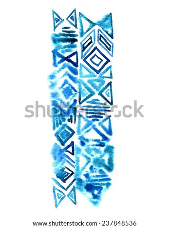 indigo blue tribal elements, hand drawn, isolated on white. - stock photo