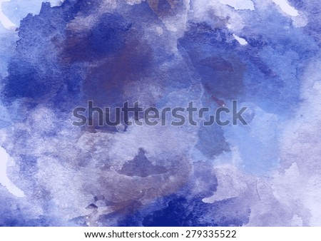Indigo Watercolor Background for Various Design. - stock photo