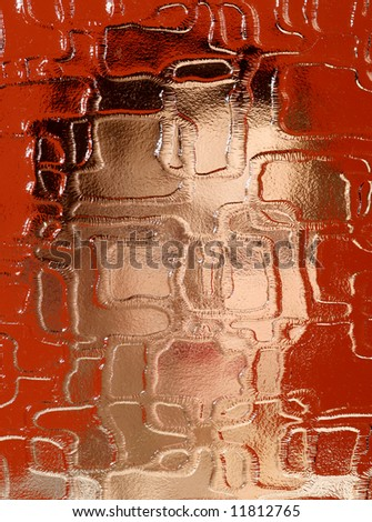 indistinguishable person behind pane on red background - stock photo
