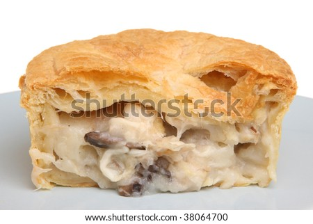 Individual chicken & mushroom pie - stock photo