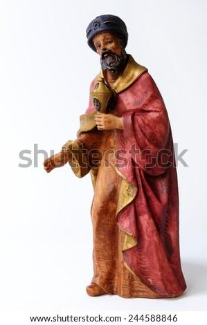 Individual elements of the Catholic Christian crib isolated on white background. - stock photo