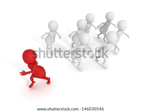 individual red 3d man walks out from crowd - stock photo