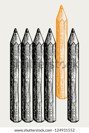 Individuality. Doodle style. Raster version - stock photo