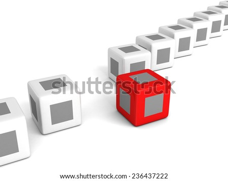 individuality red cube out from white crowd. 3d render illustration - stock photo