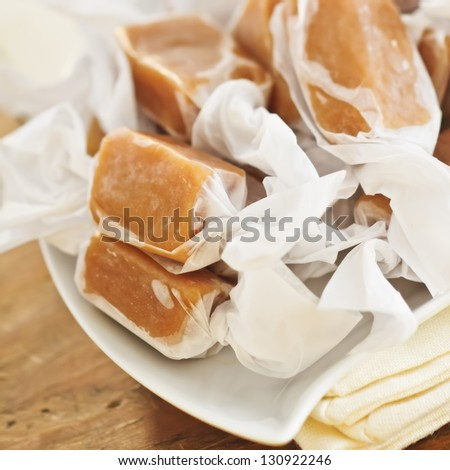 Individually Wrapped Caramel Candies - stock photo