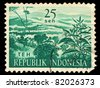 INDONESIA-CIRCA 1963: A stamp printed in Indonesia shows Green Tea (Camellia sinensis), circa 1963. - stock photo