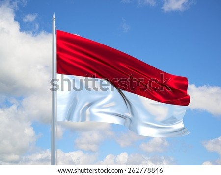 Indonesia 3d flag floating in the wind. 3d illustration.