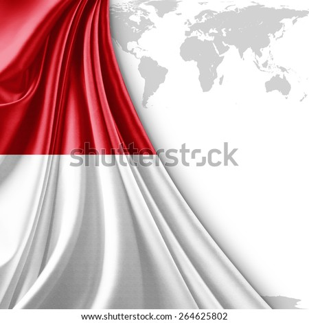 Indonesia flag and world map background - stock photo