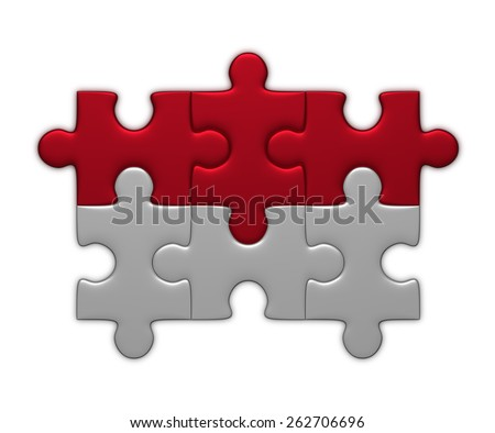 Indonesia flag assembled of puzzle pieces isolated on white background - stock photo