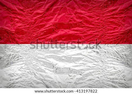 Indonesia flag pattern overlay on floyd of candy shell, vintage border style - stock photo