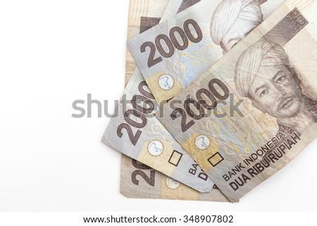 indonesia money on white background - stock photo