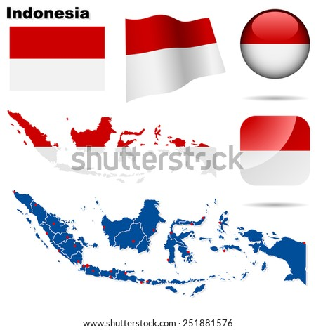 Indonesia set. Detailed country shape with region borders, flags and icons isolated on white background. - stock photo