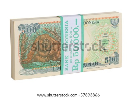 Indonesian Currency, stack of bank notes on white background
