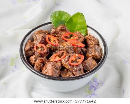 Indonesian Famous Food Beef Rendang Selective Focus