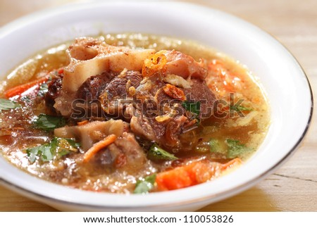 Indonesian famous oxtails soup - stock photo
