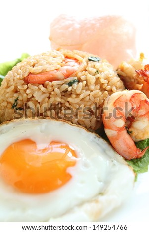 Indonesian food, spicy fried rice Nasi Goreng - stock photo