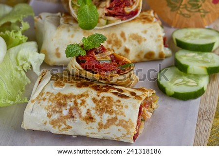 Indonesian kebab, small rolls size,grilled beef meat