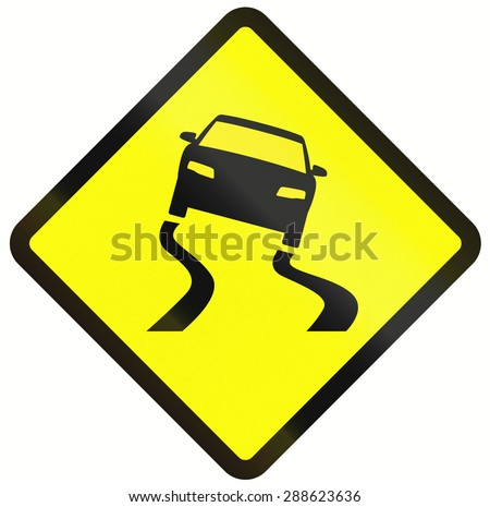 Indonesian road warning sign: Slippery when wet