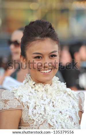"Indonesian singer/actress Agnes Monica at the American premiere of ""Oblivion"" at the Dolby Theatre, Hollywood. April 10, 2013  Los Angeles, CA Picture: Paul Smith - stock photo"