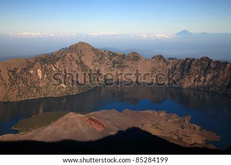 Indonesian volcano/trekking on mountain/hiking - stock photo