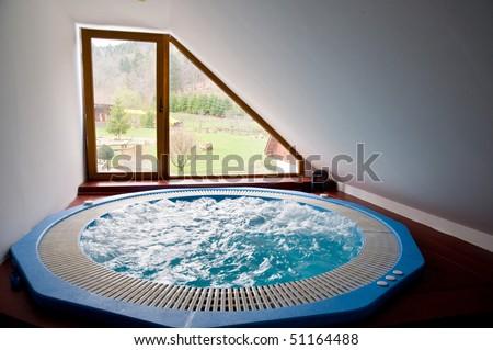 Indoor bubble bath, jacuzzi - stock photo