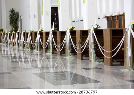 Indoor Christian Church With Lights - stock photo
