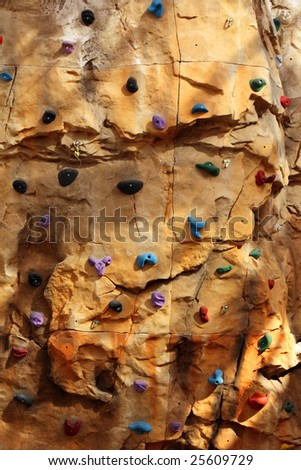 indoor climbing wall - stock photo
