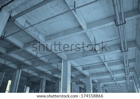 indoor construction site - stock photo
