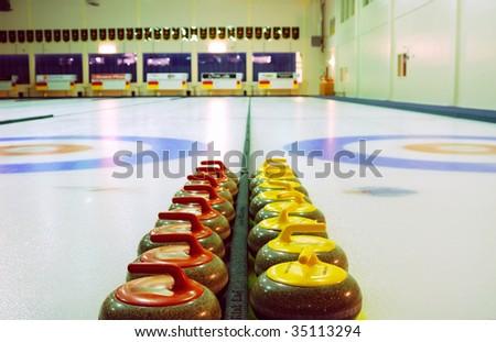 Indoor curling sheets in saville sports center, edmonton, alberta, canada - stock photo