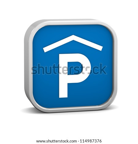 Indoor parking sign on a white background. Part of a series. - stock photo